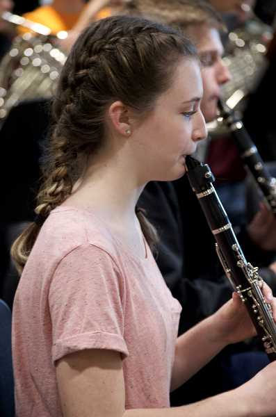 SPOKESMAN PHOTO: CLARA HOWELL  - Alexis Gessler practices the clarinet during a WHS band rehearsal.