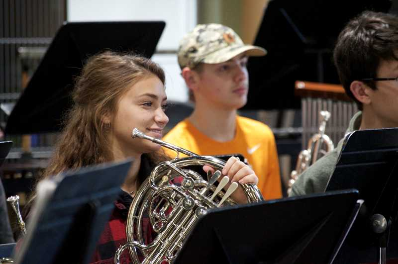 SPOKESMAN PHOTO: CLARA HOWELL  - Mia Casselman plays her instrument during WHS band class.