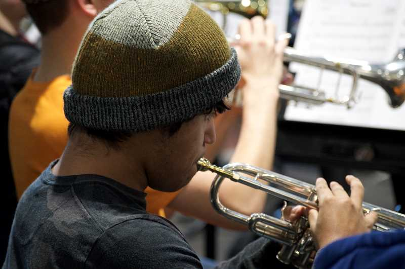 SPOKESMAN PHOTO: CLARA HOWELL  - Johnathan Gonzalez plays the trumpet in the WHS band.