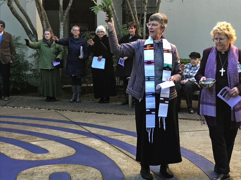 TIMES PHOTO: DANA HAYNES - The Rev. Sally Bowman, an Anglican, left, and Bishop Suzanne Thiel, a Roman Catholic, led a portion of the interfaith celebration.