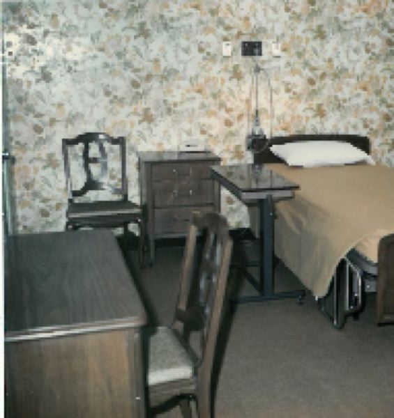 SUBMITTED PHOTO - One of the original private rooms in Dwyer Memorial Hospital featured what would now be considered period wallpaper.