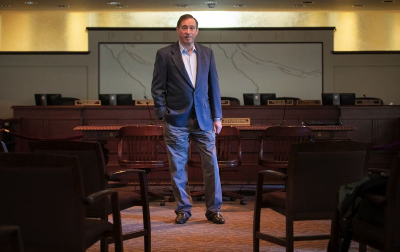 PORTLAND TRIBUNE: JONATHAN HOUSE - Dan Saltzman, pictured here in City Council chambers, will step down next month after 20 years as a Portland city commissioner. Saltzman says his proudest accomplishment is creating the Portland Children's Levy, which funds programs for low-income youth and their families.