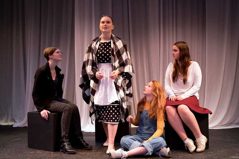 "TIDINGS PHOTO: JAIME VALDEZ - Emile Nylund, left, freshman, Nikki Rudnick, junior, Parrish Noce, sophomore, and Rachel Dumas, freshman, rehearse their roles in ""The Unravelling"" by Fin Kennedy in one of West Linn High School Theatre Department's winter productions."