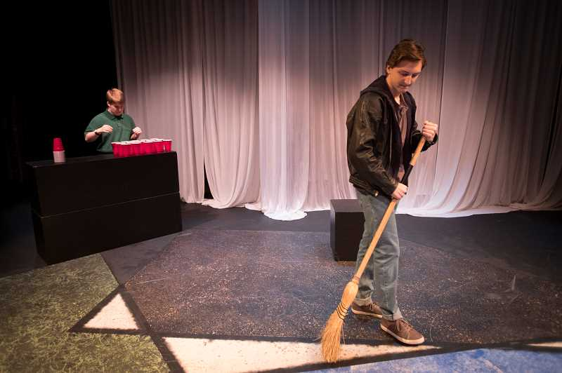 "TIDINGS PHOTO: JAIME VALDEZ - Eric McDevitt, sophomore, and Jack Gordon, freshman, rehearse their roles in ""The Okay Kids"" by Hunter McKenzie in one of West Linn High School Theatre Department's winter productions."