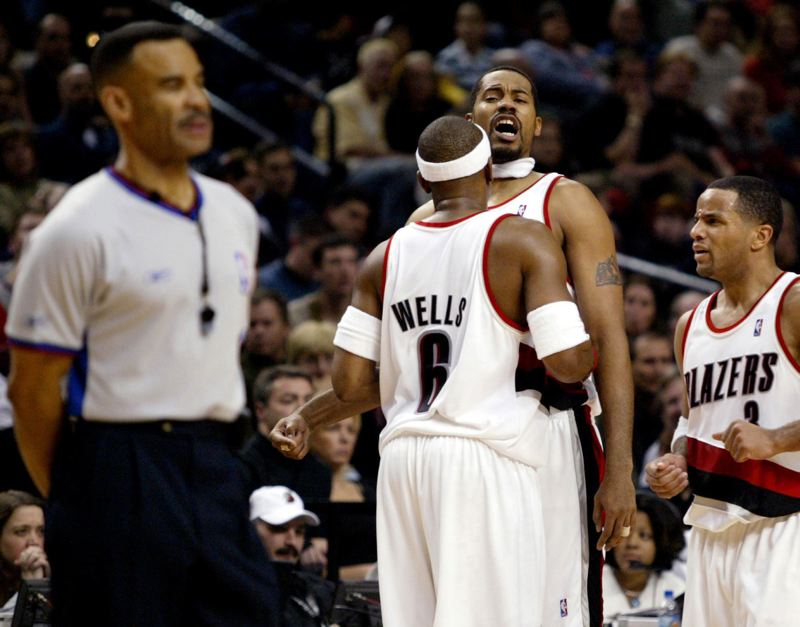 TRIBUNE FILE PHOTO: TOM PATTERSON - Rasheed Wallace, Bonzi Wells and Damon Stoudamire were part of a lively, sometimes lovable, sometimes not, group of Jail Blazers era players aboard B-1, the team's private jet belonging to owner Paul Allen.
