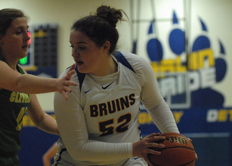 OUTLOOK PHOTO: DAVID BALL - Barlow center Libby Mathis turns toward the basket for two points in the first half. She hit the winning basket with 0:04 left to send Barlow to the 59-58 win over Cleveland on Tuesday.