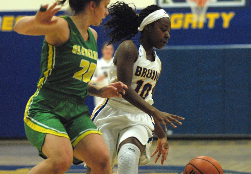 OUTLOOK PHOTO: DAVID BALL - Barlow guard Whitney Waddell dribbles into the lane against Clevelands Kaiea Waiwaiole during the Bruins 59-58 win Tuesday.