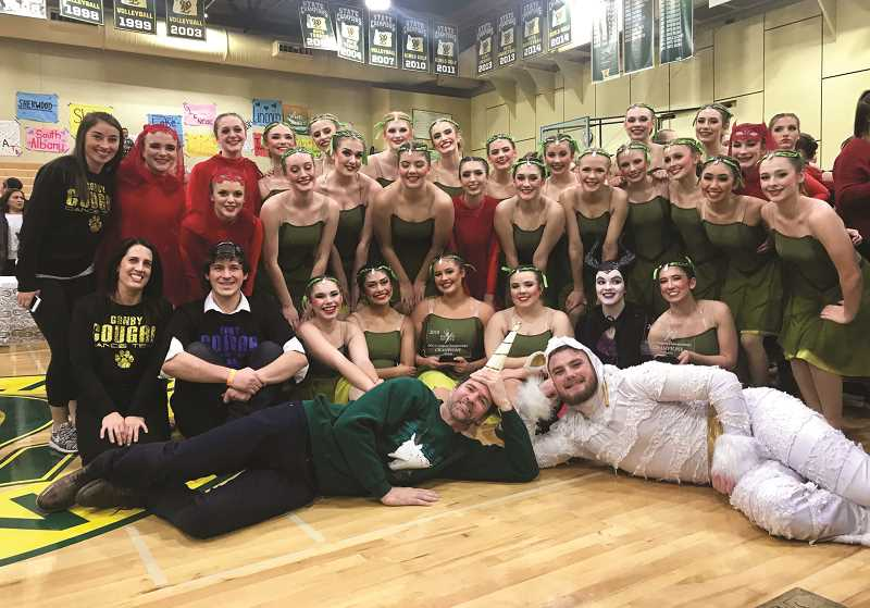 SUBMITTED PHOTO: JENNIFER CHAFFEE - Canby's dance team after their championship winning performance of 'La Foret Mystique,' a recreation of a 1992 routine performed by Grants Pass High School and now-Canby choreographer James Healy.
