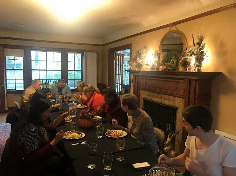 SUBMITTED PHOTO: EMILY SMITH - Residents gathered at the McLean House for the fourth annual community Thanksgiving dinner organized by Emily Smith.