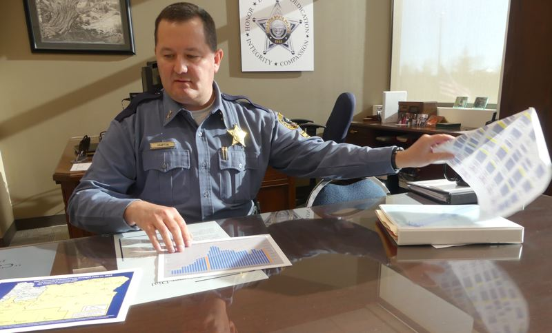 OREGON CAPITAL BUREAU/AUBREY WIEBER - Oregon State Police Superintendent Travis Hampton flips through charts and graphs showing the impacts of OSP's short staffing. In 2017, the agency was unable to respond to 11,880 calls for service due to staffing levels.