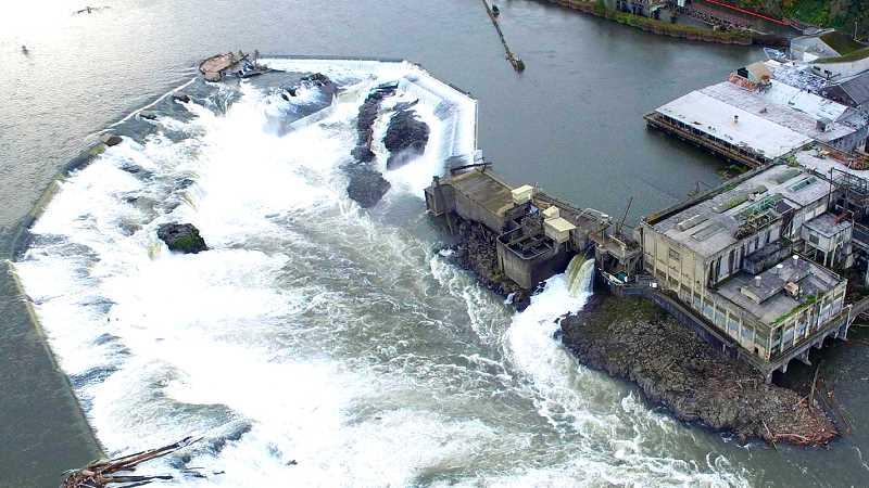 TIDINGS FILE PHOTO - The fishing platform at the falls was completed in October, about a month before the Department of State Lands upheld its approval of the platform on appeal.