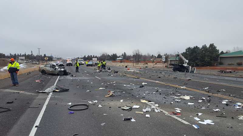 PHOTO COURTESY OF OREGON STATE POLICE - A 73-year-old Prineville resident was killed in a head-on collision on Highway 97 south of Redmond.