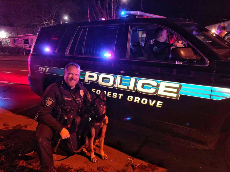 COURTESY PHOTO: HILLSBORO POLICE DEPARTMENT - Hillsboro Police Officer Scott Brennan and K-9 Rocket completed their first successful track and capture together on a mutual aid call in Forest Grove Monday night, Dec. 3.