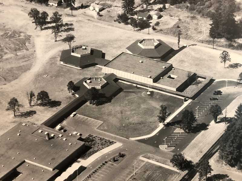 PHOTO COURTESY OF THE LAKE OSWEGO SCHOOL DISTRI CT - Bryant Elementary School will perhaps be best remembered for the three hexagonal 'pods' that consisted of six classrooms each. The school opened to students in September 1966.