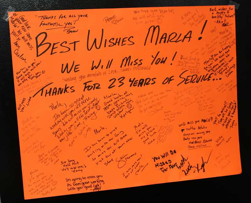 REVIEW PHOTO: COREY BUCHANAN - Members of the community wrote heartfelt notes to Marla Kleinheinz upon her departure from the store.