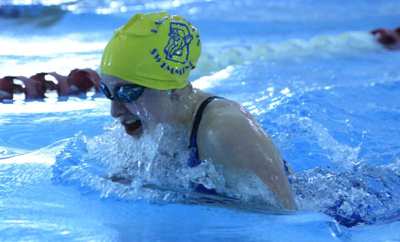 OUTLOOK PHOTO: DAVID BALL - Barlow senior Kate Simon returns to the pool after finishing third in the 200 medley race at district last season.