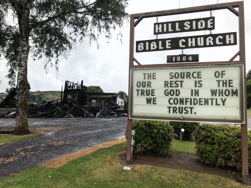 COURTESY PHOTO: HILLSIDE BIBLE CHURCH - After losing its sanctuary and hall in a June fire, Hillside Bible Church successfully applied to the county for permission to rebuild. A site plan and building permits have yet to be approved, although that could happen as soon as the first half of 2019.