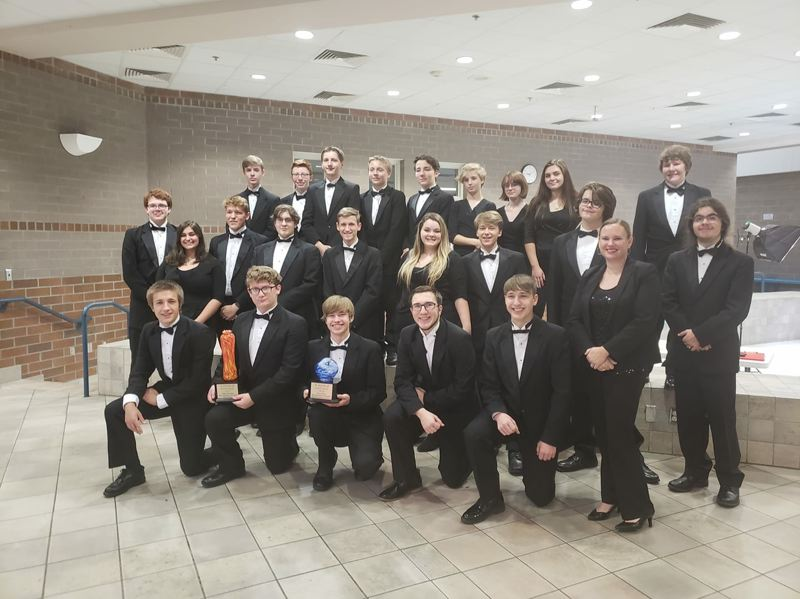 PHOTO COURTESY OF KAREN HIMES - The St. Helens High School Jazz band took home a first-place title at the SkyView Jazz Festival on Saturday, Dec. 1. The competition was the first of the season for the ensemble.