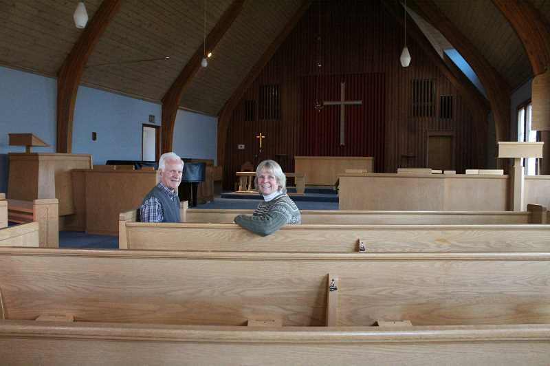 HOLLY SCHOLZ/CENTRAL OREGONIAN  - St. Andrew's Episcopal Church members are in the final stages of selling the building to Calvary Chapel of Crook County. Pictured are Rev. Steve Uffelman, left, and Senior Warden Nancy Wiggins Condron.