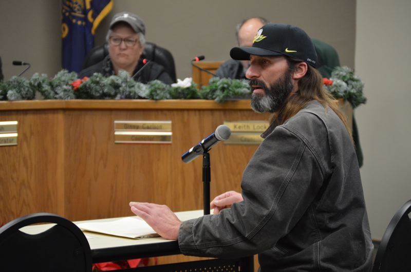 SPOTLIGHT PHOTO: NICOLE THILL-PACHECO - St. Helens Mayor Rick Scholl speaks during a public hearing Dec. 5. Scholl was requesting a vacation of right of way for several properties that he co-owns at the top of Wyeth Street and 9th Street in St. Helens.