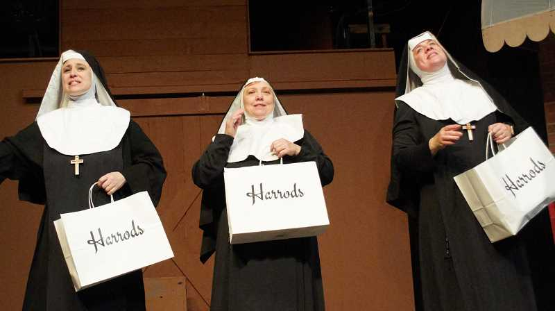 COURTESY PHOTO: THEATRE IN THE GROVE - Jennifer Yamashiro, left, Pruella Centers, center, and Wendy Bax, right, play three of the five Sisters of Hoboken in Theatre in the Grove's musical, 'Nuncrackers.'