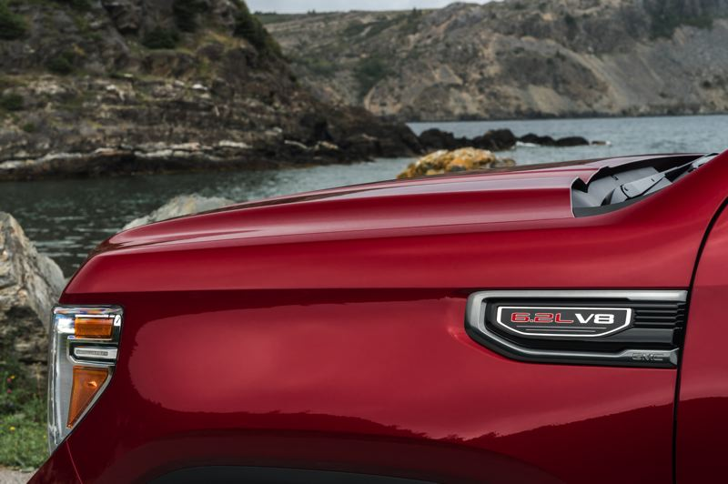 COURTESY GMC - The optional 6.2-liter V8 delivers plenty of power and reasonable economy in the 2019 GMC Sierra AT4.