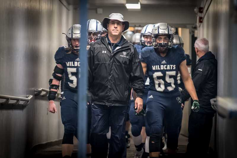 SUBMITTED PHOTO: GREG ARTMAN - Wilsonville football coach Adam Guenther received the NWOC coach of the year for an unbeaten campaign during the regular season.