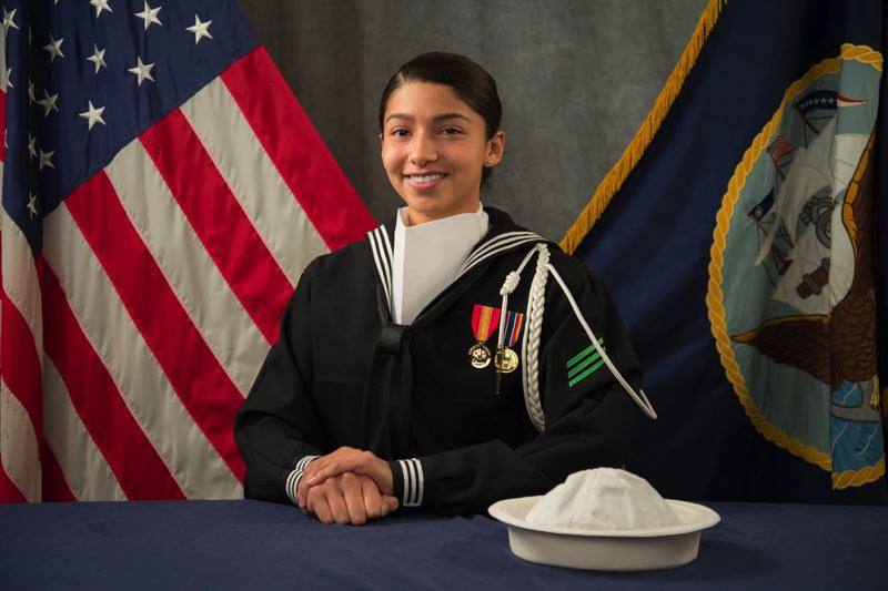 COURTESY PHOTO: U.S. NAVY - Petty Officer 3rd Class Alyssa Villalobos, a Forest Grove High School alumna, was selected to participate in the burial service for former President George H.W. Bush.