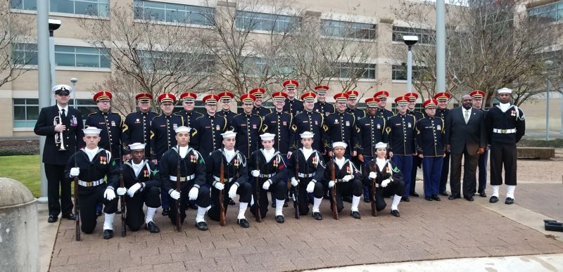 COURTESY PHOTO: ALYSSA VILLALOBOS - The military guard for former President George H.W. Bush's funeral at Texas A&M University poses for a photo.