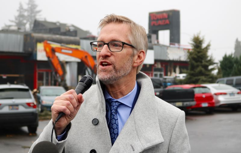 TRIBUNE PHOTO: ZANE SPARLING - Portland Mayor Ted Wheeler speaks before the demolition of the Sugar Shack, a former strip club to be replaced with 141 units of affordable housing, on Monday. Dec. 10.