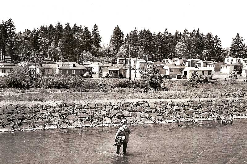 COURTESY OF MILWAUKIE MUSEUM - This 1946 photo shows a fisherman casting about in Johnson Creek near Ochoco Street, with a view of the Kellogg Creek Housing Project near McLoughlin Boulevard. These houses were available for workers of the Kaiser shipyards and industries during World War II.