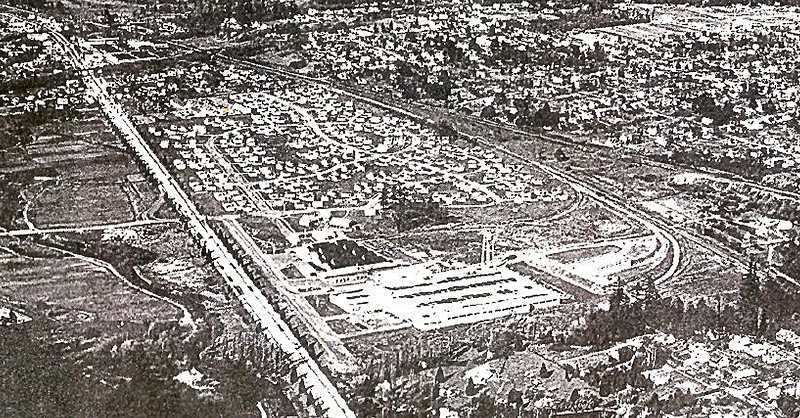 COURTESY OF MILWAUKIE MUSEUM - An aerial photo of the Kellogg Park Housing Project as it was in 1946. The electric interurban overpass is at the top of the photo, and the west side section of Kellogg Park can be seen faintly on the left corner of the photo. Built in 1942, the Housing development between McLoughlin and the S.P. railroad tracks was cleared by 1959, and turned into the Milwaukie Industrial Park.