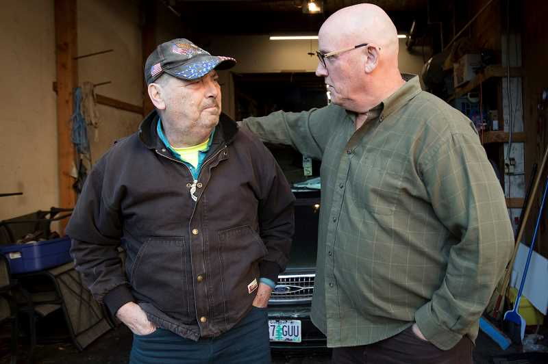 TIDINGS PHOTO: JAIME VALDEZ  - Chuck Chancellor, left, had been living out of his van until recently, when he met Gregg Creighton and watched in astonishment as a GoFundMe page raised nearly $1,000 to help get him back on his feet.