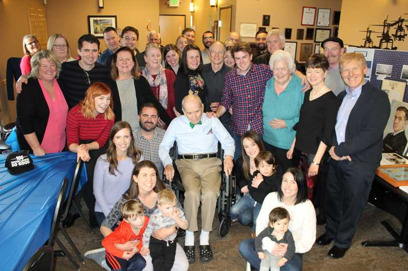 COURTESY OF PHIL MCGUIGAN - John McGuigan's family gathered at Saturday's event honoring the man who help save the USS North Carolina after it was struck by an enemy torpedo during World War II.