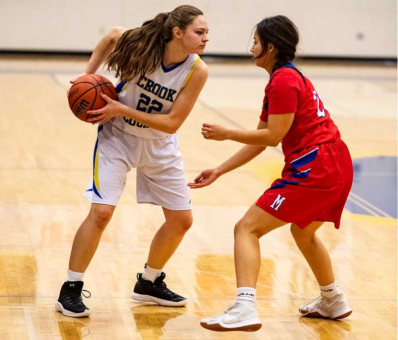 LON AUSTIN/CENTRAL OREGONIAN - McKinzee Mode gives a ball fake during a game against Madras earlier this year. Mode finished with nine points and six rebounds on Thursday in the Cowgirls' loss to the South Albany Riverhawks.