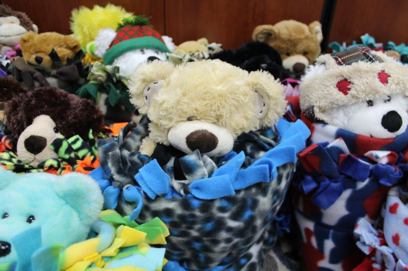 CONTRIBUTED PHOTO: GRESHAM-BARLOW SCHOOL DISTRICT - Blanket buddies are ready to go to the Gresham Police Department. Officers will hand them out to kids in tough situations.