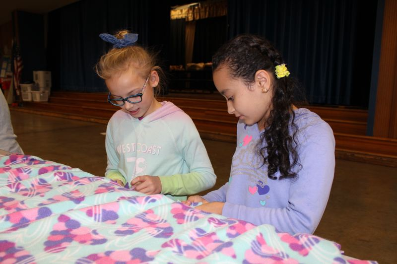 CONTRIBUTED PHOTO: GRESHAM-BARLOW SCHOOL DISTRICT - The materials for the cuddly bundles of comfort were donated, and students were able to put together 50 buddies.