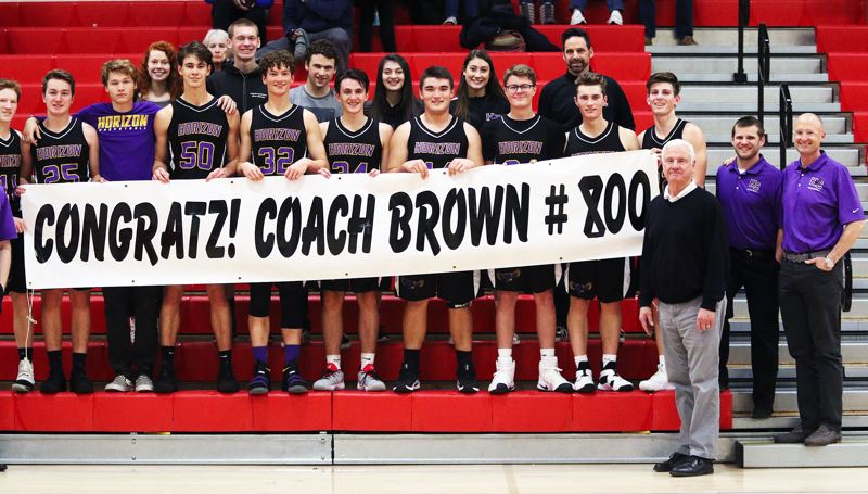TIMES PHOTO: DAN BROOD - Horizon Christian High School boys basketball coach Dave Brown picked up career win No. 800 with the Hawks' 58-28 victory at Westside Christian on Saturday.
