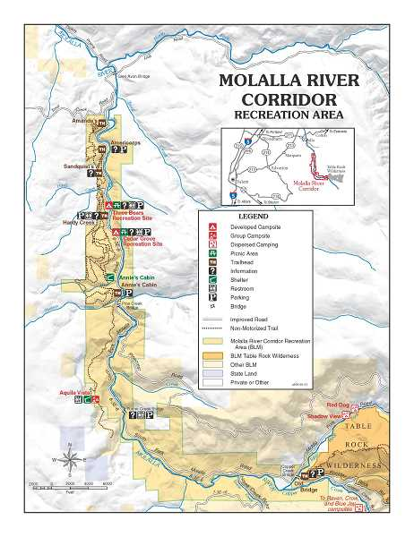 BLM - Pictured is a map of the current Molalla River Corridor Recreation Area, which will be affected if the Oregon Wildlands Act passes.