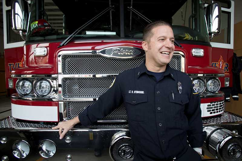 TIDINGS PHOTO: JAIME VALDEZ - Lieutenant Ryan Stenhouse says the tiller truck at the new Station 55 is a welcome addition to the TVFR force, and he and his crew are working to build a family-like bond at their new home.
