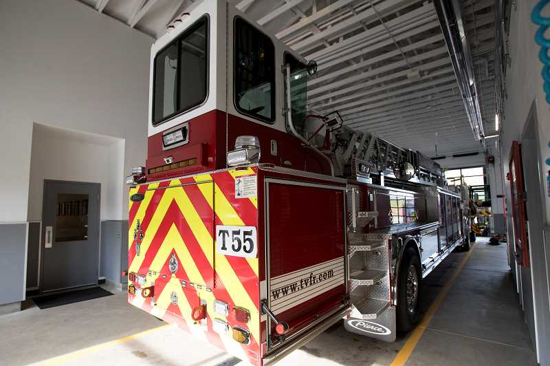 TIDINGS PHOTO: JAIME VALDEZ - The tiller truck may look unwieldy, but TVFR says it's actually easier to drive and offers resources a regular fire engine doesn't have.