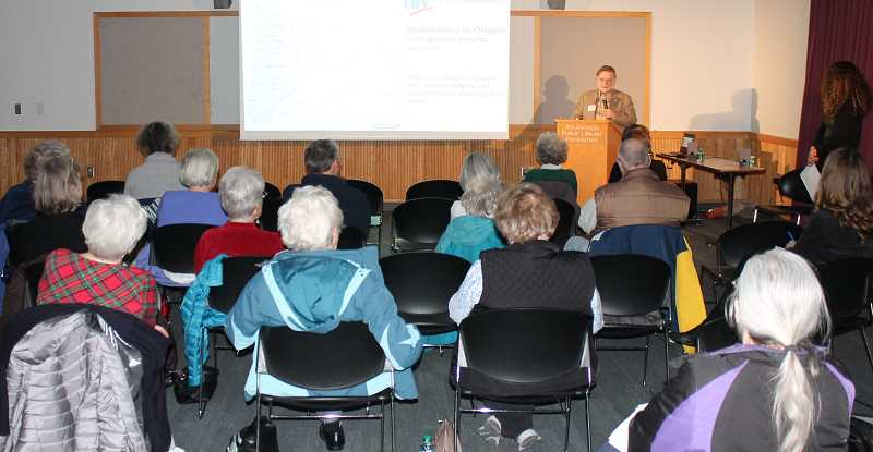 SPOKESMAN PHOTO: COREY BUCHANAN - The Oregon League of Women Voters hosted a redistricting forum at the Wilsonville Public Library Thursday, Dec. 6.