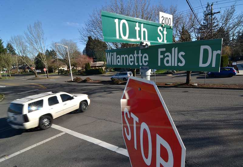 TIDINGS FILE PHOTO - The City will use GO bond funds to address traffic and accessibility issues around 10th Street and Willamette Falls Drive.