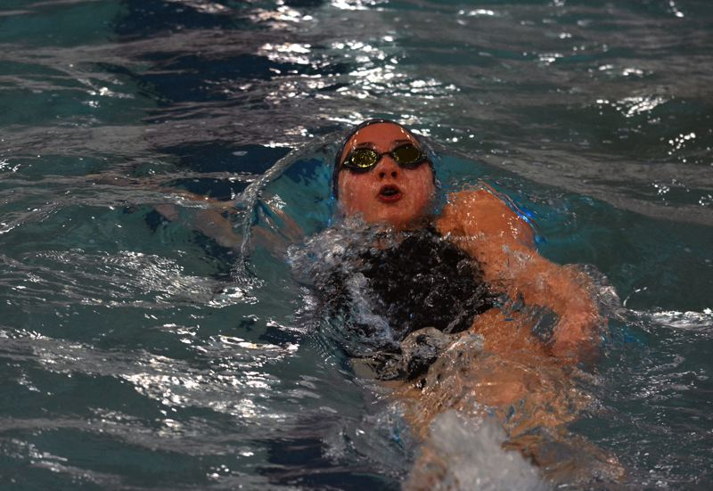 TIMES PHOTO: MATT SINGLEDECKER - Sunset girls swimmer Tia Lindsay was part of the Apollo state championship team a year ago.