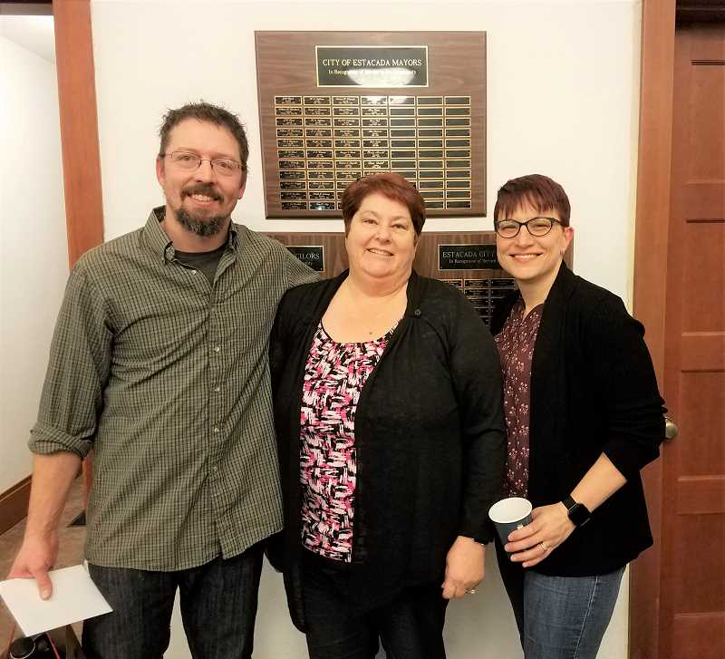 CONTRIBUTED PHOTO: MELANIE WAGNER - Dan Neujahr and Lanelle King are pictured with Estacada City Manager Denise Carey during a ceremony earlier this week that honored their work with the City Council.