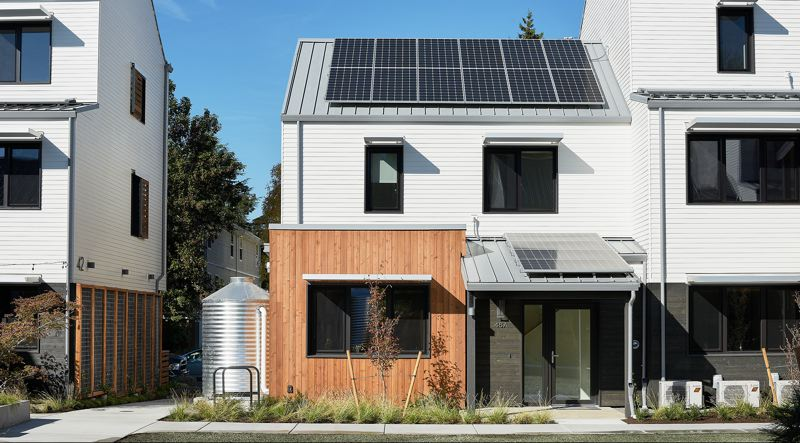 COURTESY: BILL PURCELL PHOTOGRAPHY - Tillamook Row in Northeast Portland has been built to Passive House standards and is energy net-zero. Someday all houses will be made this way.