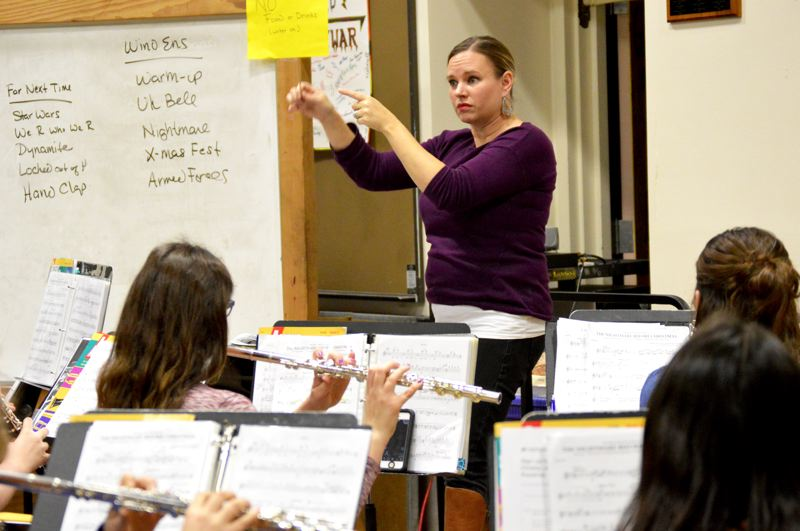 SPOTLIGHT PHOTO: NICOLE THILL-PACHECO - St. Helens band director Noelle Freshner leads a wind ensemble rehearsal at St. Helens High School. Freshner, who has taught at the district for 12 years, was recently selected as a music educator who makes a difference by School Bands and Orchestra magazine.