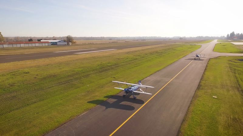 PORT OF COLUMBIA COUNTY PHOTO - A taxiway relocation project at the Scappoose Industrial Airpark is now complete. The project brought necessary safety and traffic separation improvements to the airport.