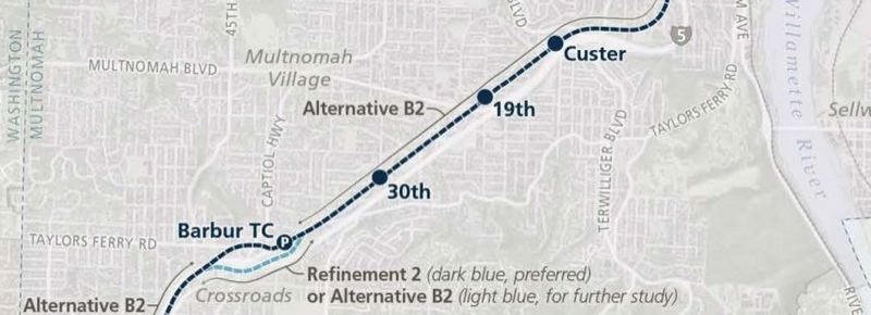 COURTESY METRO - A part of the proposed Southwest Corridor MAX line .