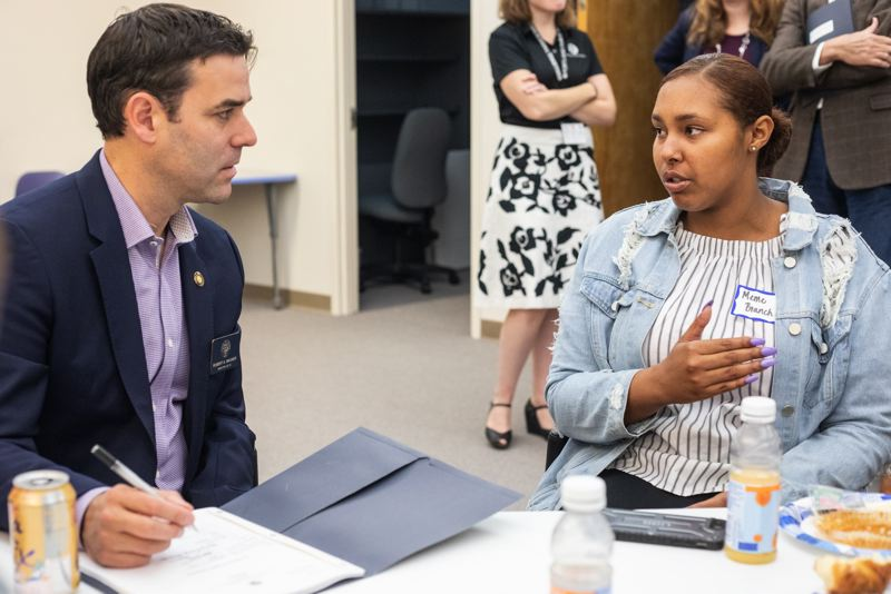 PAMPLIN MEDIA GROUP FILE PHOTO - Meme Branch talks about her high school experience with state Sen. Rob Wagner in early 2018 during a Joint Legislation Committee on School Success town hall.